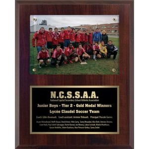 9x12 Cherrywood Soccer Surface Mount Photo Plaque